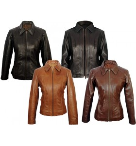 Womens Vintage Classic Trucker Peacoat Motorcycle Leather Jacket