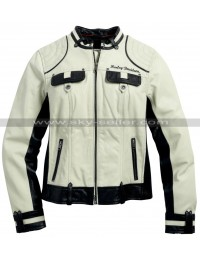 Women's HD Colorblock Motorcycle Leather Jacket