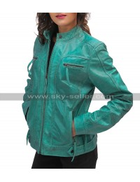Womens Cafe Racer Sea Green Biker Turquoise Distressed Motorcycle Leather Jacket