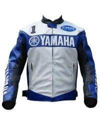 Yamaha Champion Blue Motorcycle Leather Jacket for Men's