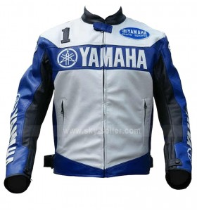 Yamaha Champion Blue Motorcycle Leather Jacket for Men's