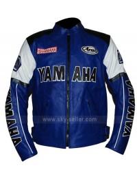 Motorcycle Yamaha Blue and White Racing Jacket