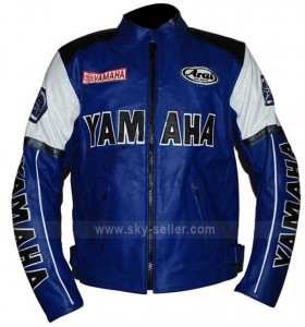 Motorcycle Yamaha Blue and White Racing Jacket