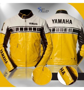 Yamaha Vintage Yellow Bike Riding Leather Jacket