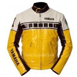 Yamaha Vintage Yellow Bike Riding Leather Jacket