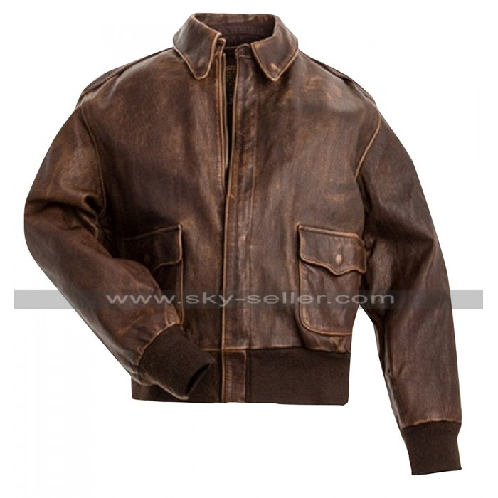 A2 Aviator Air Force Pilot Men Vintage Distressed Brown Leather Bomber Jacket