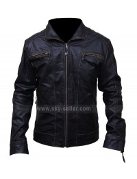 Black Rivet Motorcycle Leather Jacket for Men's