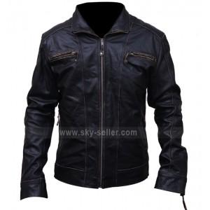 Black Rivet Motorcycle Leather Jacket for Men's