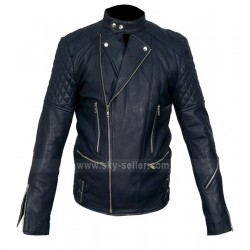 Brando Movie Style Blue Motorcycle Leather Jacket
