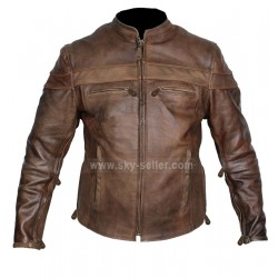 Cafe Racer Brown Motorcycle Leather Jacket