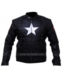 Captain America 2 Chris Evans Black Biker Leather Costume