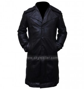 Carlito's Way Al Pacino Black Leather Biker Trench Coat