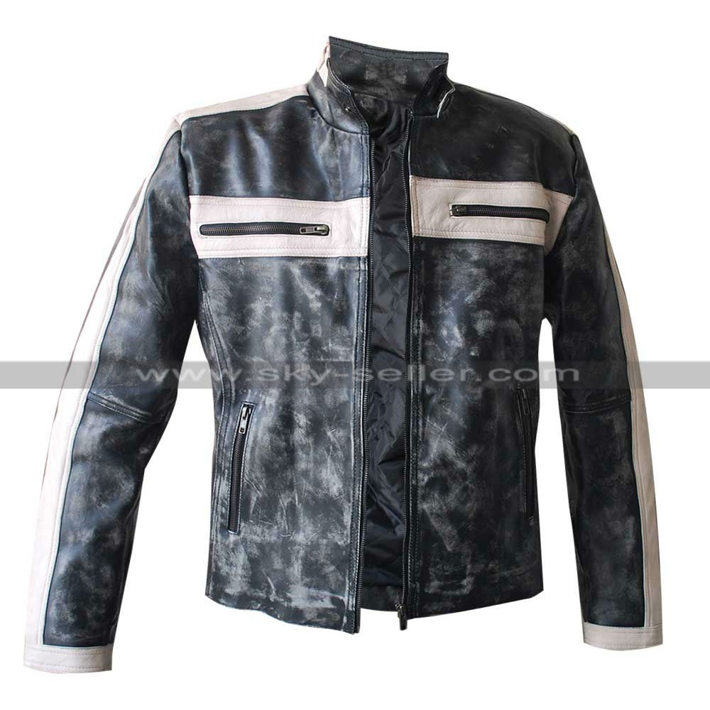 Grey Bomber Designers Biker Leather Jacket