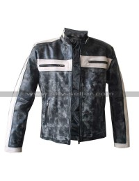 Grey Bomber Designers Biker Leather Jacket