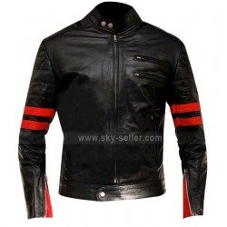 Red Stripes Fight Club Hybrid Mayhem Motorcycle Leather Jacket