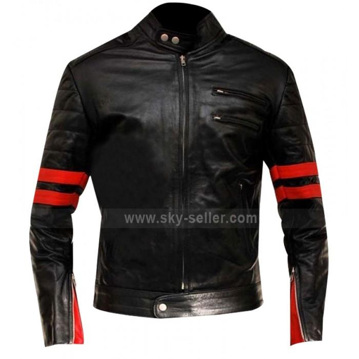Red Stripes Fight Club Hybrid Mayhem Motorcycle Leather Jacket