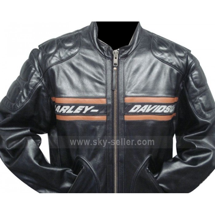 Bill Goldberg Harley Davidson Black Motorcycle Leather Jacket