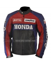 Honda Red and Blue Motorcycle Leather Jacket