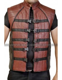 John Crichton Farscape Biker Leather Vest for Mens