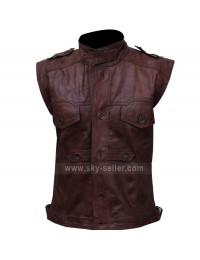 Mens Chocolate Brown Distressed Biker Leather Vest
