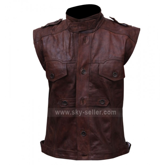 Mens Chocolate Brown Distressed Biker Leather Vest