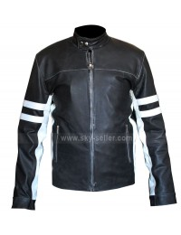 Slim Fit Mens Leather Biker Jacket With Stripes for Sale