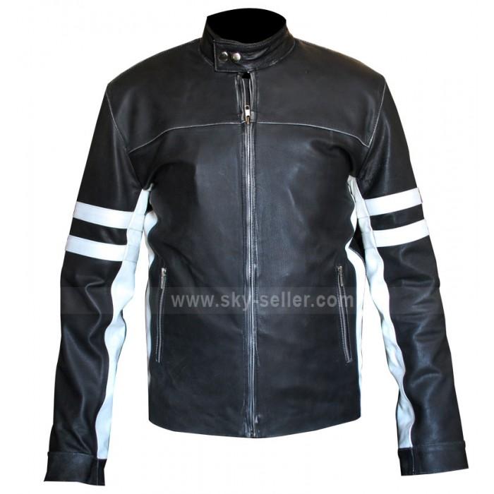 Slim Fit Mens Leather Biker Jacket With Stripes for Sale