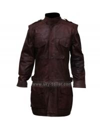 Men's Tall Brown Armor Leather Biker Coat