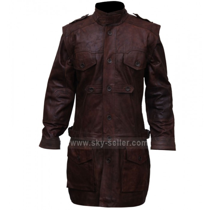 Men's Tall Brown Armor Leather Biker Coat
