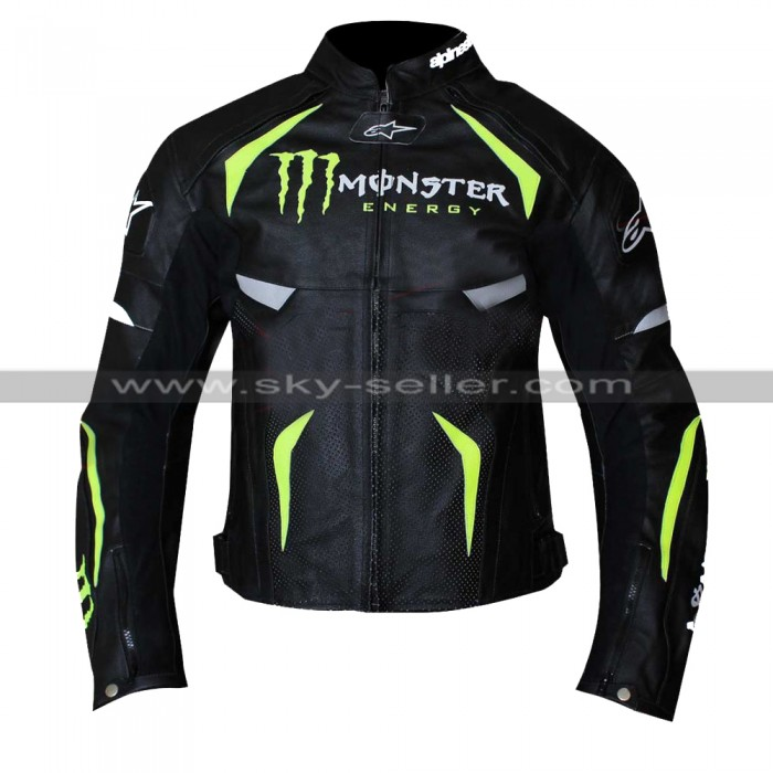 Men's Alpine stars Monster Energy Scream Black Leather Jacket