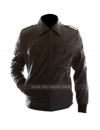 Slimfit Brown Bomber Motorcycle Leather Jacket