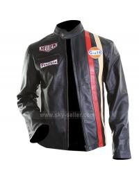 Steve McQueen Gulf Le Mans Biker Style Leather Jacket