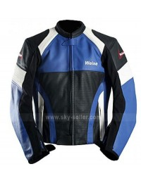 Weise Cyclone Blue, Black & White Biker Leather Jacket