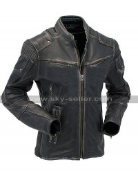 Mens Cafe Racer Quilted Motorcycle Black Rider Vintage Biker Leather Jacket