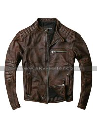 Cafe Racer Quilted Biker Vintage Motorcycle Distressed Brown Leather Jacket