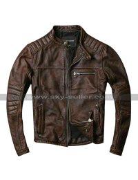 Cafe Racer Quilted Biker Vintage Motorcycle Distressed Brown Leather Jacket