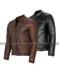 Cafe Racer Retro Biker Multi Pockets Quilted Motorcycle Leather Jacket Black/Brown