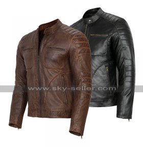 Cafe Racer Retro Biker Multi Pockets Quilted Motorcycle Leather Jacket Black/Brown