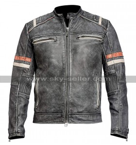 Mens Vintage Cafe Racer Retro Biker Distressed Black Motorcycle Leather Jacket