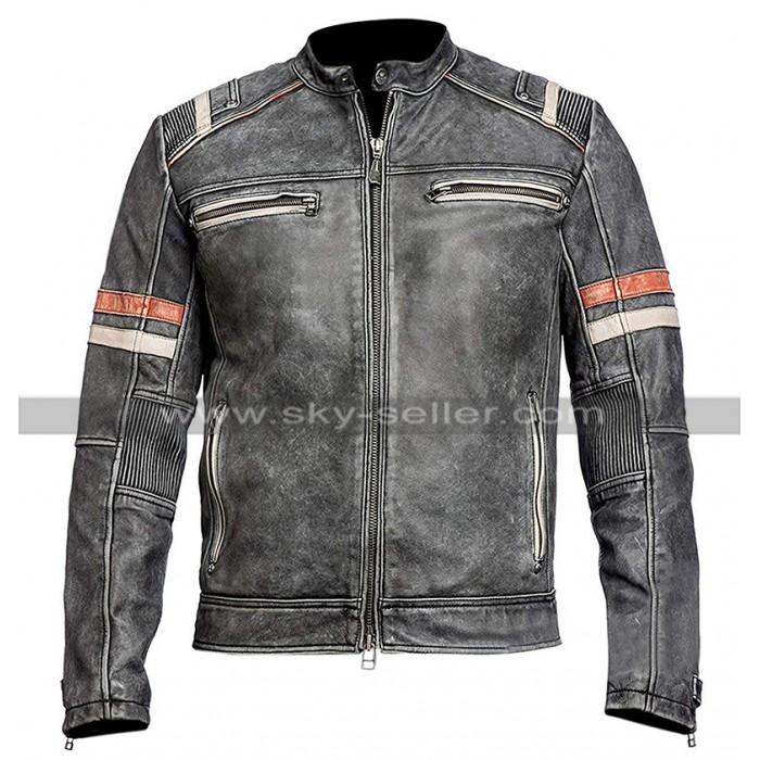 Mens Vintage Cafe Racer Retro Biker Distressed Black Motorcycle Leather Jacket