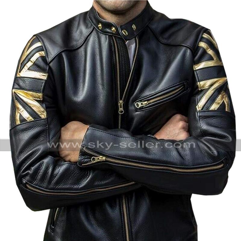 Men Motorcycle Biker Vintage Union Jack UK FLAG Cafe Racer Real Leather Jacket
