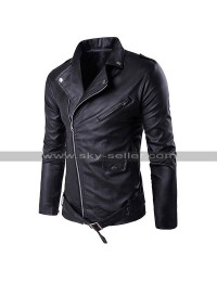 Slim Fit Genuine Leather Biker Outfit Diagonal Zipper Brando Motorcycle Black Jacket