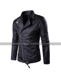 Men Slim Fit Genuine Leather Biker Outfit Diagonal Zipper Brando Motorcycle Black Jacket