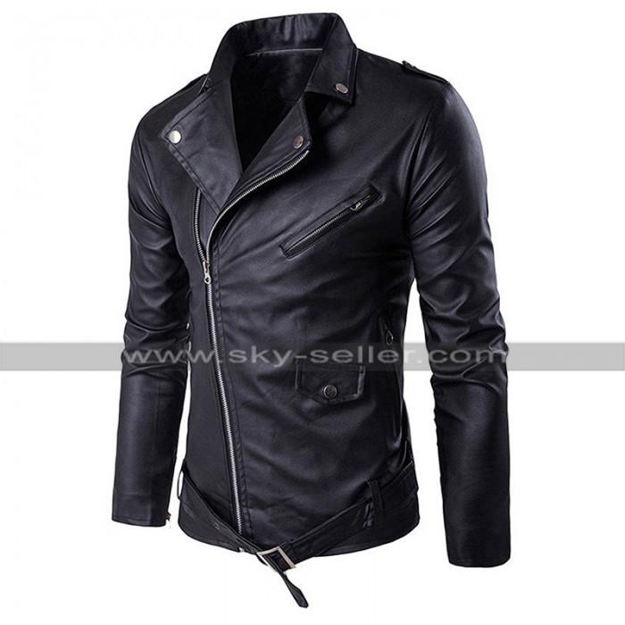 Slim Fit Genuine Leather Biker Outfit Diagonal Zipper Brando Motorcycle Black Jacket