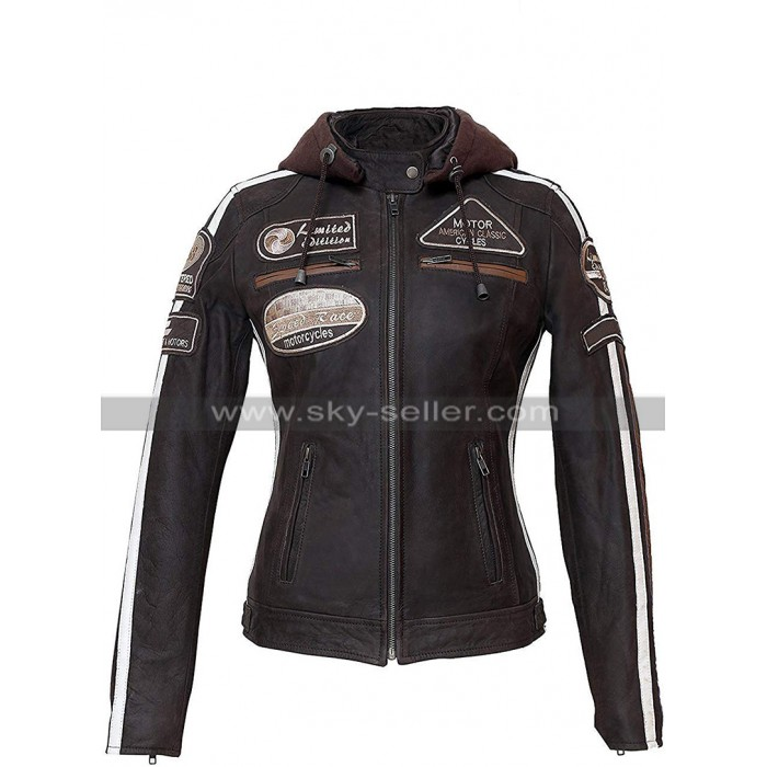 Womens Brown Biker Speed Race Badges Motorcycle Leather Jacket with Hood