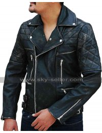 Mens Antique Zipper Distressed Black Quilted Biker Brando Motorcycle Leather Jacket