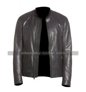 Mens Slim Fit Biker Black Leather Jacket for Motorcycle Riders
