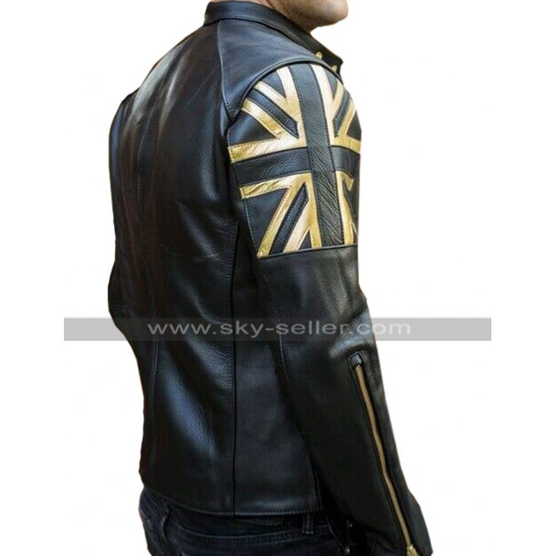 Mens Biker Vintage Motorcycle Black Cafe Racer UK Flag Union Jack Leather Jacket