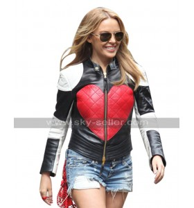 Timebomb Singer Kylie Minogue Red Heart Valentines Day Black White Leather Jacket