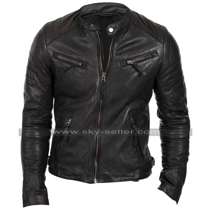 Mens Slim Fit Vintage Black Biker Cafe Racer Quilted Leather Jacket